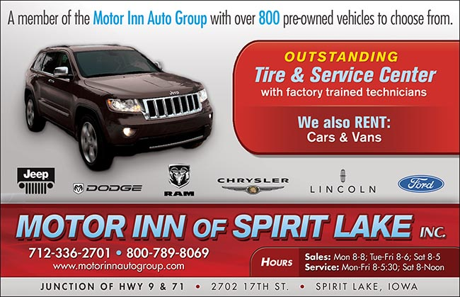 Index of images ads okoboji 2012 for Motor inn spirit lake iowa